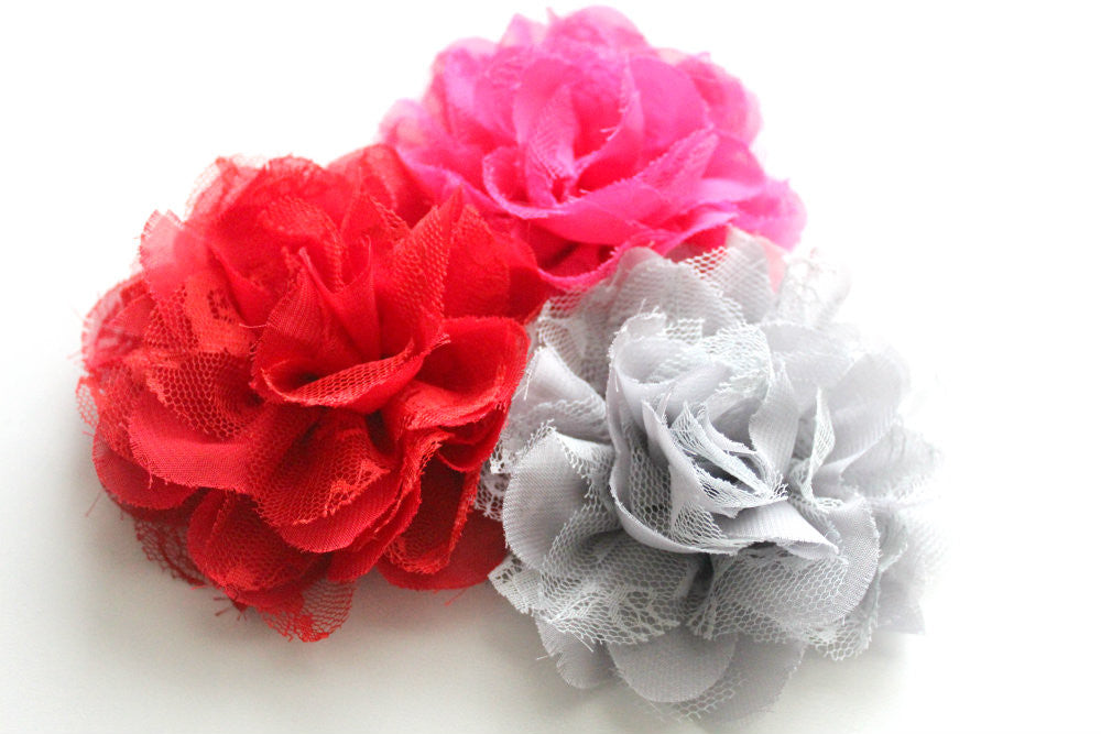 Solid Colors Large Chiffon Lace Flowers