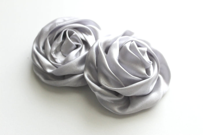 Large Satin Rolled Rose/Rosettes - Peak Bloom