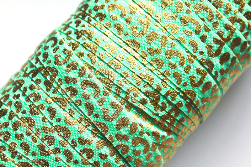 "5/8"" Leopard Fold Over Elastic - Peak Bloom  - 11"