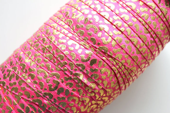 "5/8"" Leopard Fold Over Elastic - Peak Bloom  - 9"
