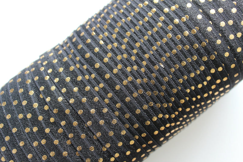 "5/8"" Gold Dots Fold Over Elastic - Peak Bloom"