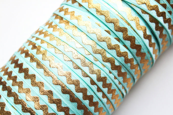 "3/8"" Gold Wave (Ric Rac) Fold Over Elastics - Peak Bloom"
