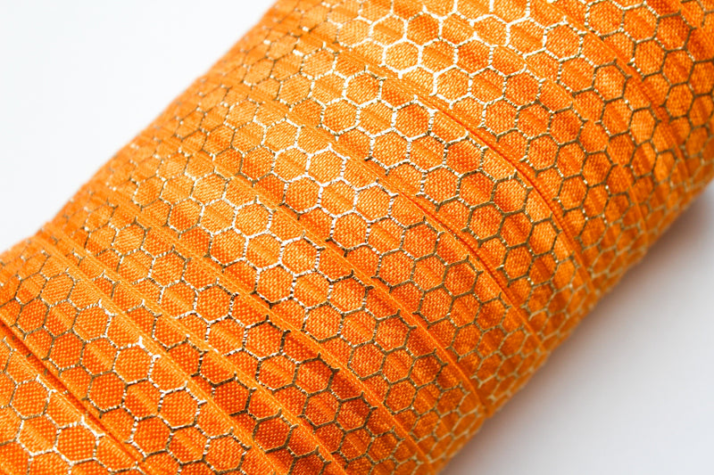 "5/8"" Gold Honeycomb Fold Over Elastic - Peak Bloom  - 9"