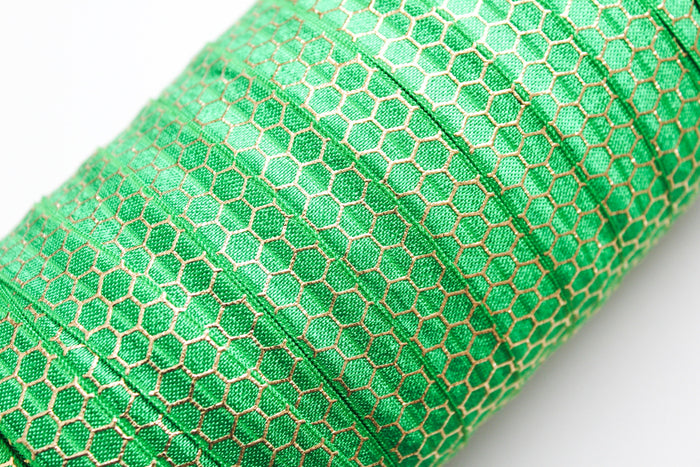 "5/8"" Gold Honeycomb Fold Over Elastic - Peak Bloom  - 4"
