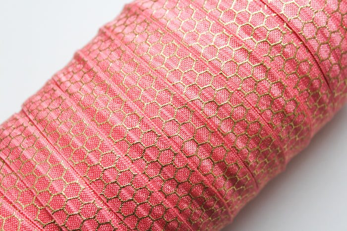 "5/8"" Gold Honeycomb Fold Over Elastic - Peak Bloom  - 10"