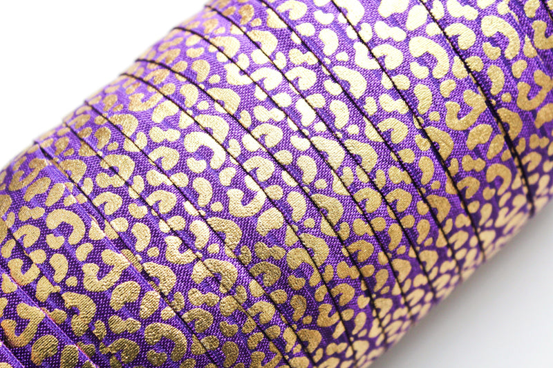 "5/8"" Leopard Fold Over Elastic - Peak Bloom  - 13"