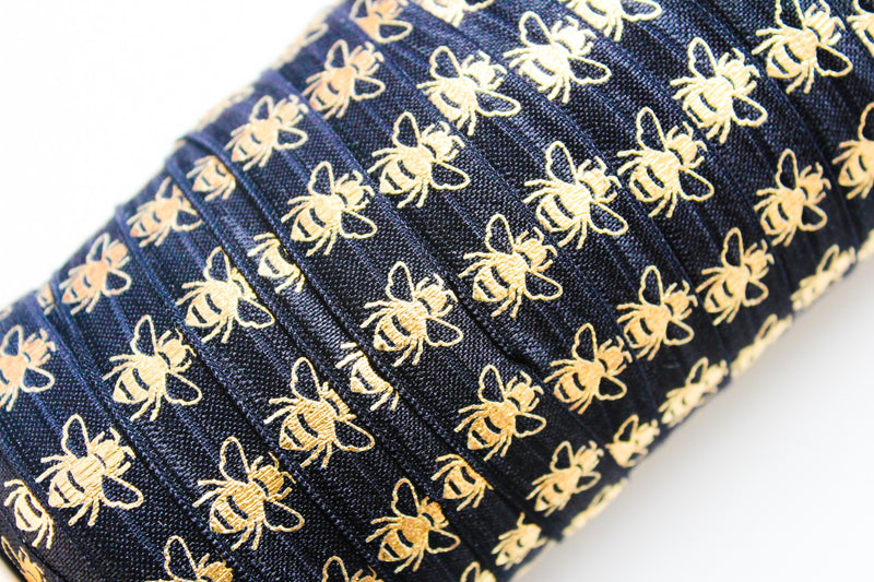 "5/8"" Gold Bees Fold Over Elastic - Peak Bloom"