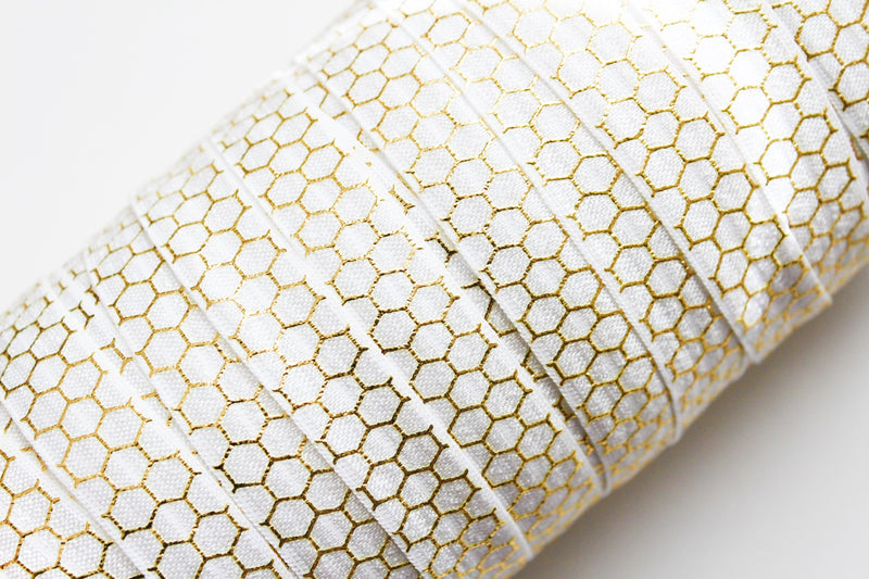 "5/8"" Gold Honeycomb Fold Over Elastic - Peak Bloom  - 11"