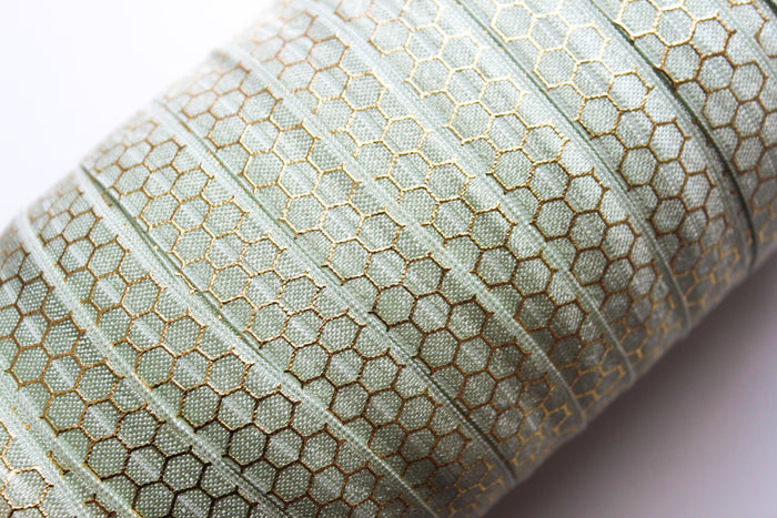 "5/8"" Gold Honeycomb Fold Over Elastic - Peak Bloom  - 8"