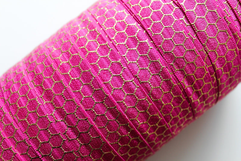 "5/8"" Gold Honeycomb Fold Over Elastic - Peak Bloom  - 2"