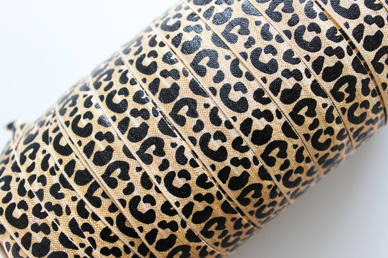"5/8"" Leopard Fold Over Elastic - Peak Bloom  - 4"