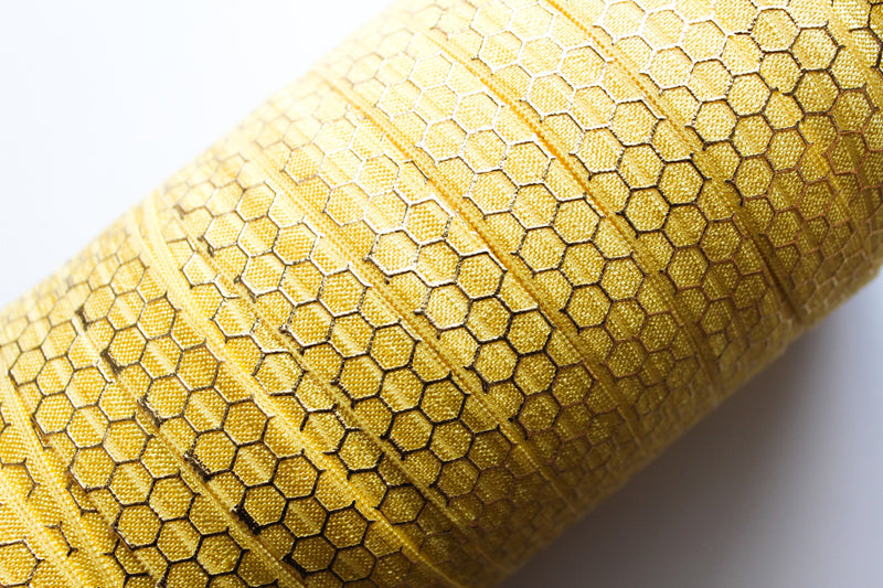 "5/8"" Gold Honeycomb Fold Over Elastic - Peak Bloom  - 5"