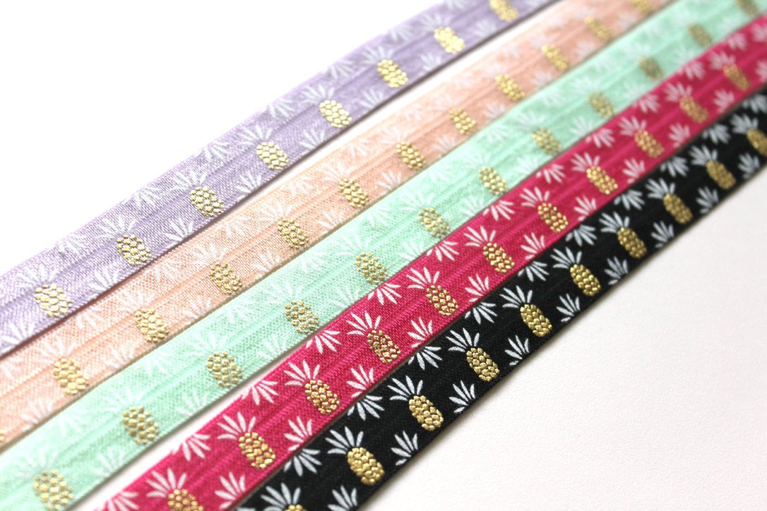 "5/8"" Pineapple Fold Over Elastic - Peak Bloom  - 1"