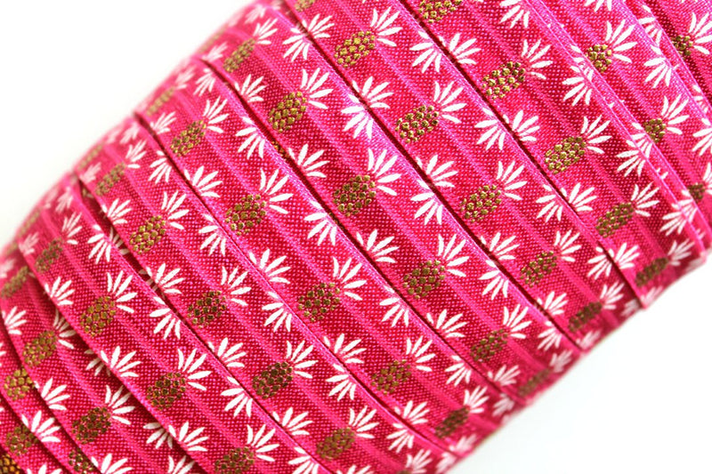 "5/8"" Pineapple Fold Over Elastic - Peak Bloom  - 5"