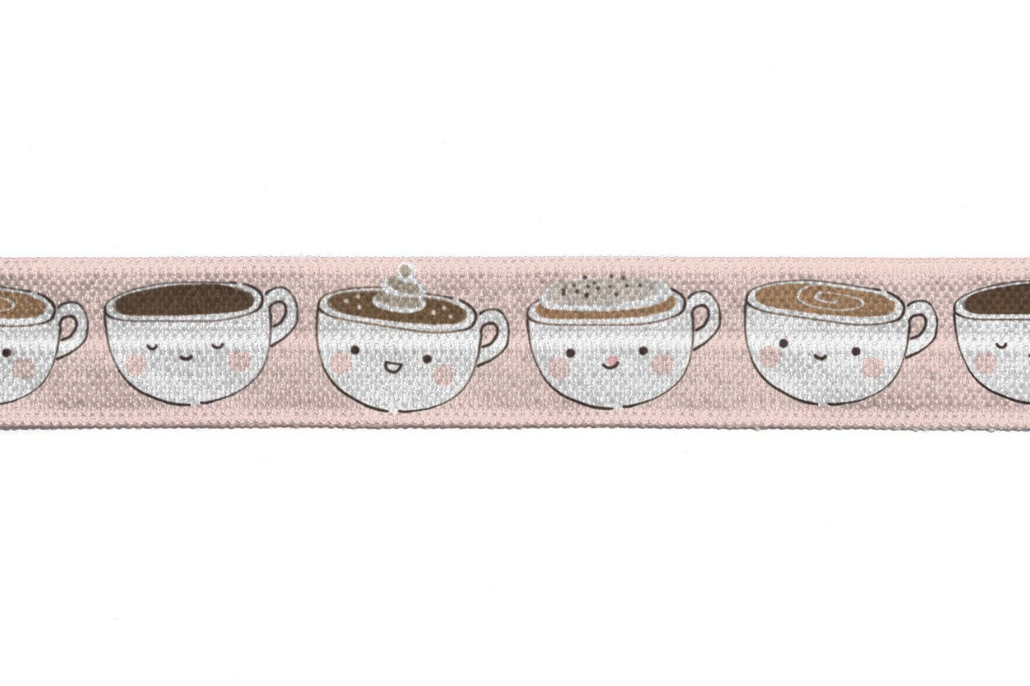 "5/8"" Pink Tea Cups Fold Over Elastic - Peak Bloom"