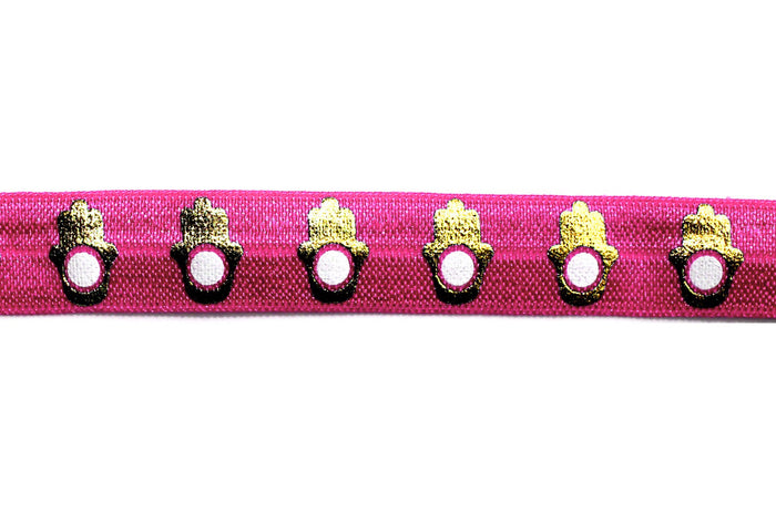 "5/8"" Fashion Hamsa Fold Over Elastic - Peak Bloom  - 5"