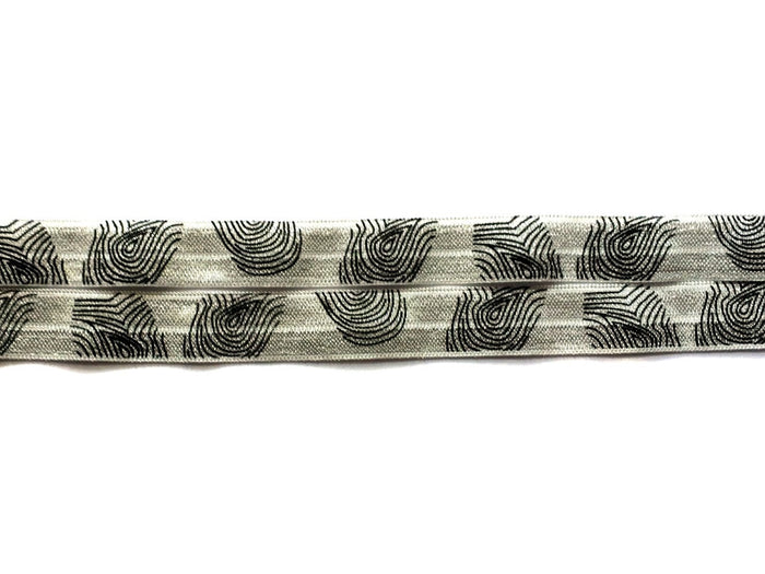"5/8"" Black Thumbprints on Grey Fold Over Elastic - Peak Bloom"