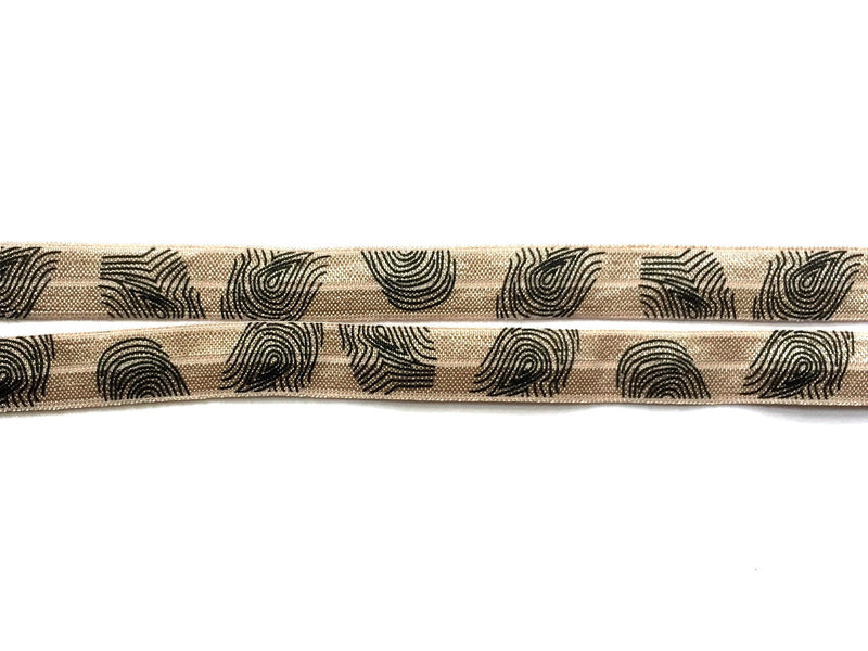 "5/8"" Black Thumbprints on Taupe Fold Over Elastic - Peak Bloom"