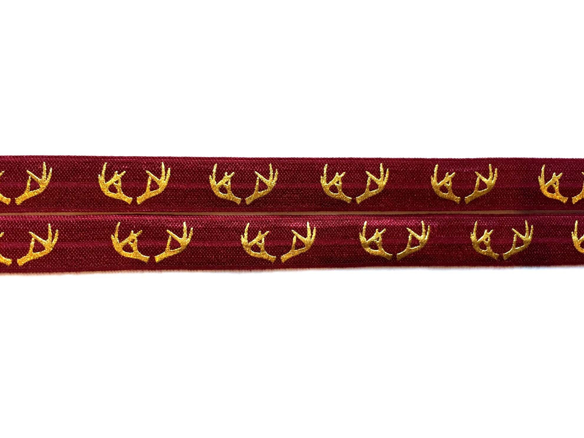 "5/8"" Gold Antlers Fold Over Elastic - Peak Bloom"