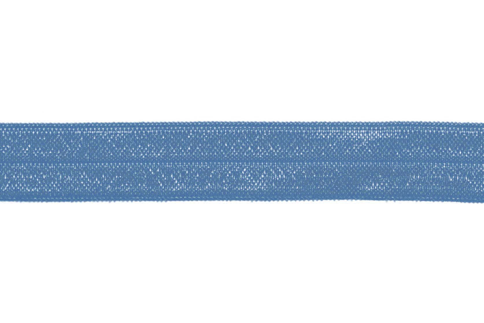 "5/8"" Smoke Blue Fold Over Elastic - Peak Bloom"