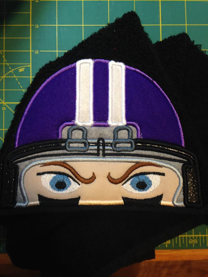 5x7 FOOTBALL HELMET FOR HOODED TOWEL