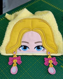 5x7 BLONDE BARBIE EARRING DOLL HEAD FOR HOODED TOWEL