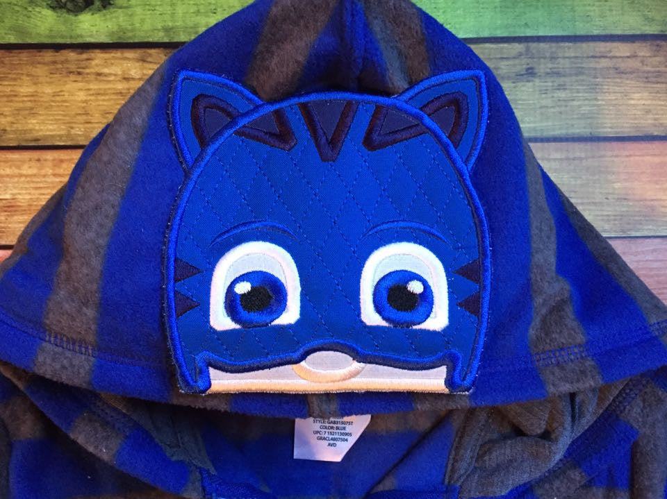 5X7 BLUE CAT PJMASK HEAD FOR HOODED TOWEL