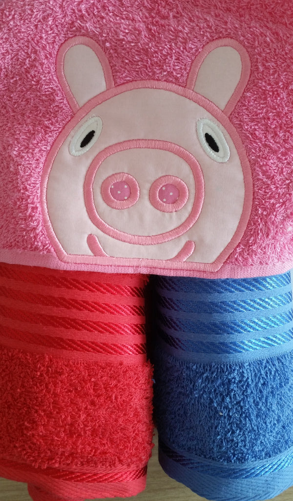 5X7 PEPPA PIG HEAD FOR HOODED TOWEL