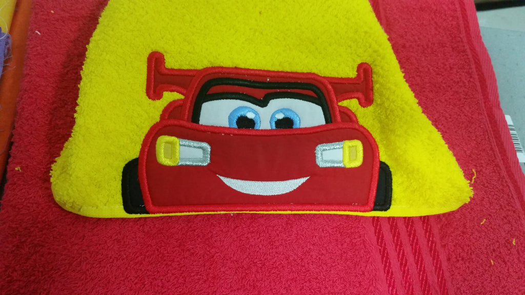 5x7 LIGHTENING MCQUEEN HEAD FOR HOODED TOWEL