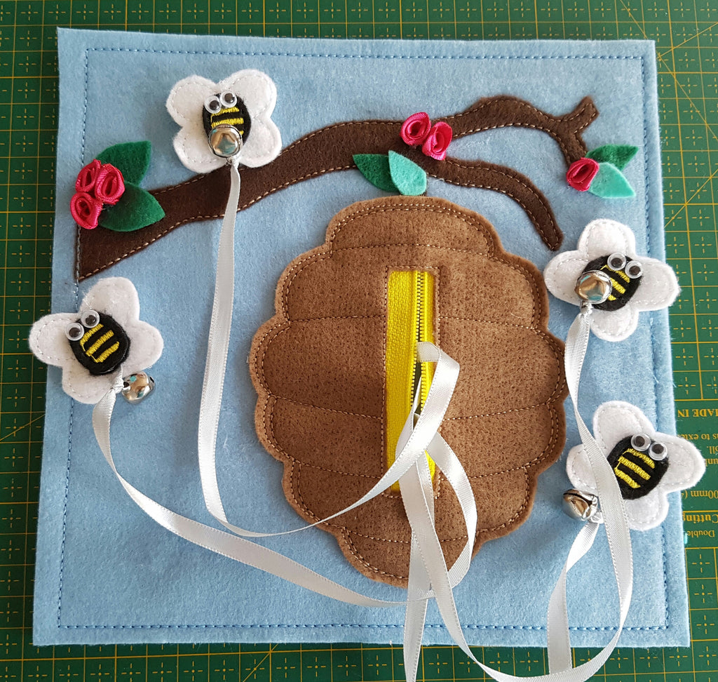 6x6 & 8X8 BEEHIVE AND FLYING BEES QUIET BOOK PAGE
