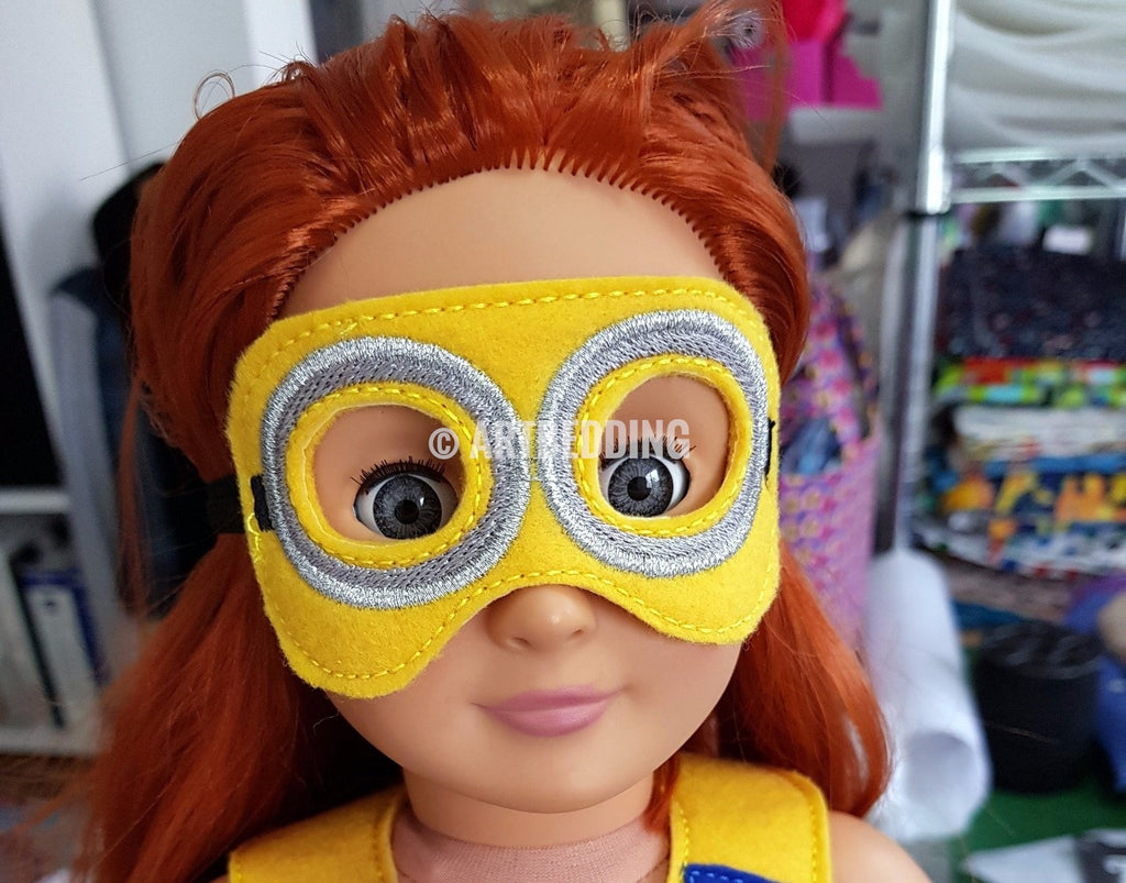 4x4 MINION INSPIRED MASK FOR 18 INCHES DOLL