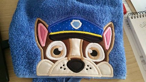 5x7 CHASE PAW PATROL DOG HEAD FOR HOODED TOWEL