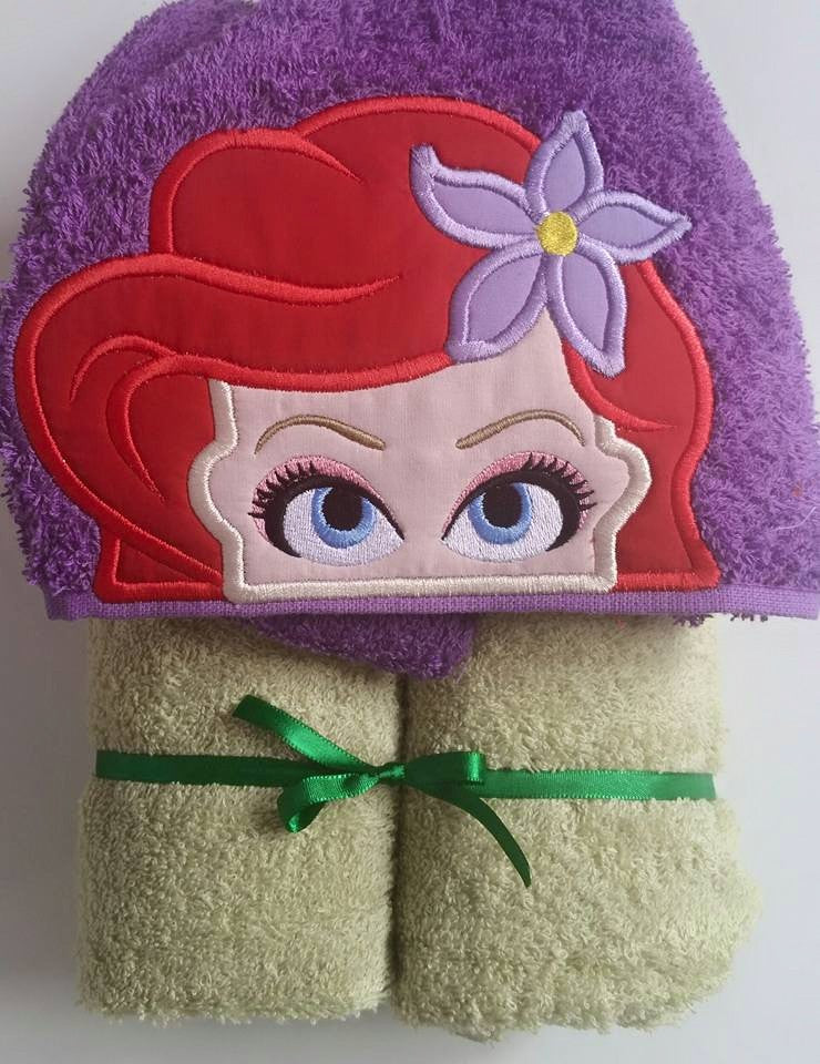 5x7 LIL MERMAID HEAD FOR HOODED TOWEL