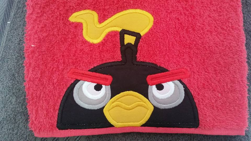 5x7 ANGRY BIRD BOMB HEAD FOR HOODED TOWEL