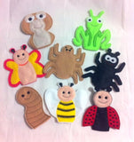 GARDEN INSECTS FINGER PUPPETS SET PATTERNS