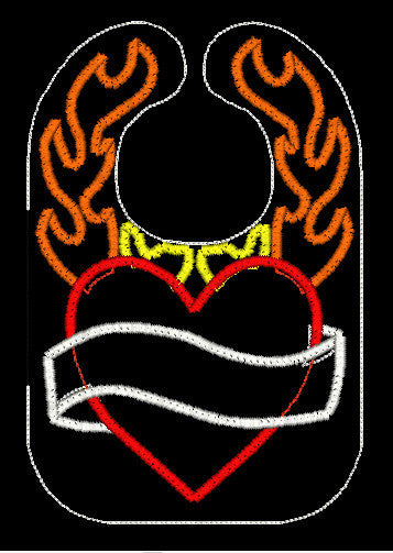 HEART AND FLAMES BIB