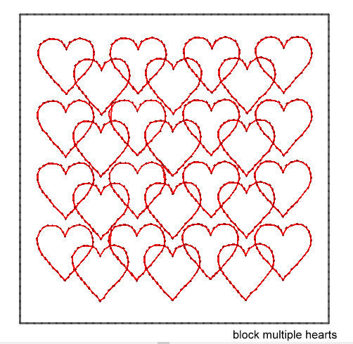 ITH QUILTING BLOCK #20A MULTIPLE HEARTS