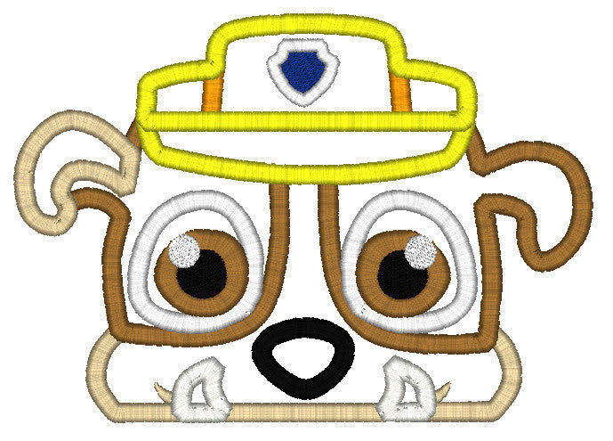 5x7 RUBBLE PAW PATROL DOG HEAD FOR HOODED TOWEL