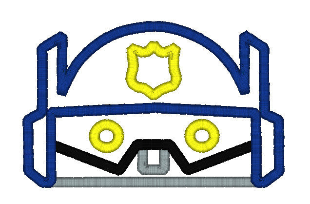 5x7 BLUE RESCUE BOT POLICE HEAD FOR HOODED TOWEL