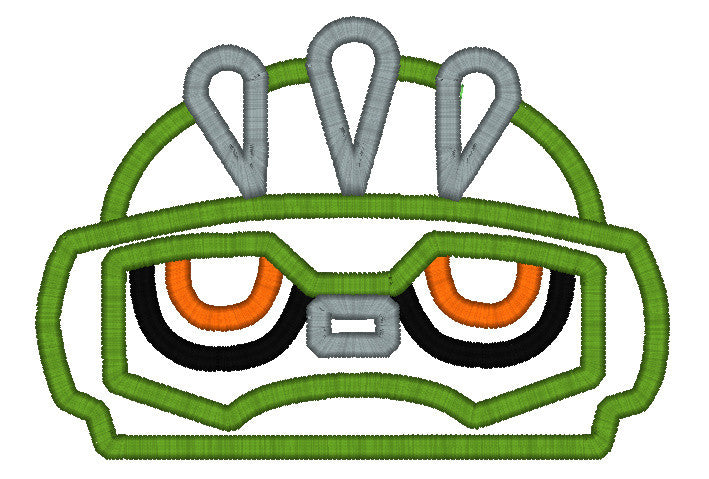 5x7 GREEN RESCUE BOT HEAD FOR HOODED TOWEL
