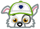 5x7 ROCKY PAW PATROL DOG HEAD FOR HOODED TOWEL