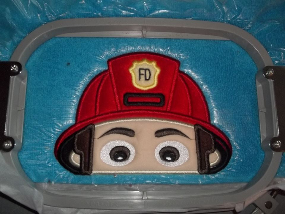 5x7 FIREMAN HEAD FOR HOODED TOWEL