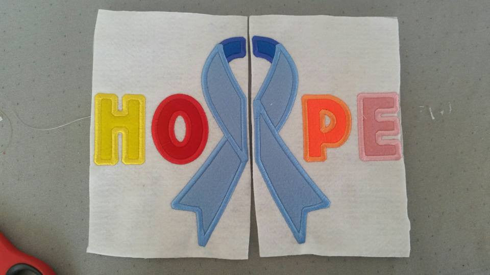 5x7 SPLIT CANCER RIBBON (HOPE)