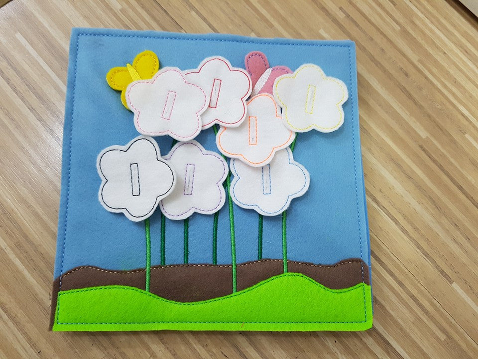 6x6 & 8X8 BUTTON UP FLOWERS QUIET BOOK PAGE
