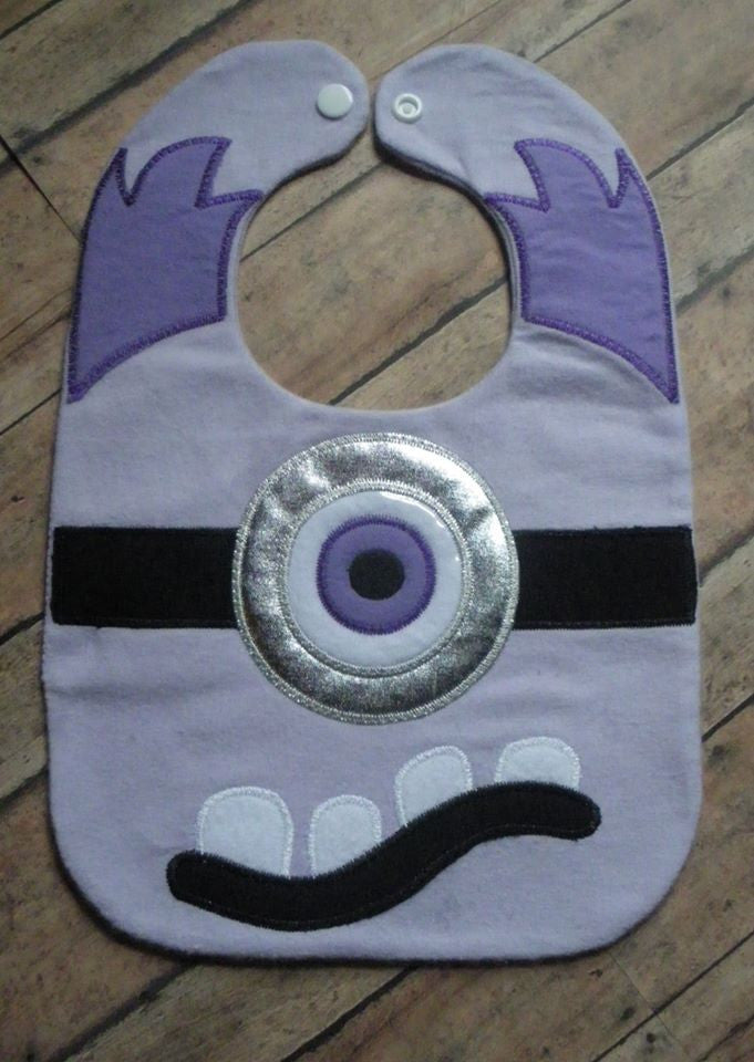 PURPLE EVIL MINION BIB