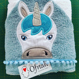 5X7 UNICORN HEAD FOR HOODED TOWEL