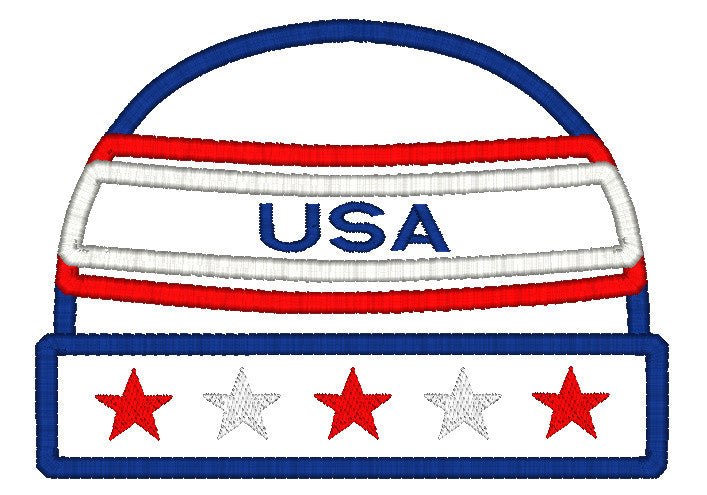 5x7 USA AMERICAN BEANIE APPLIQUE