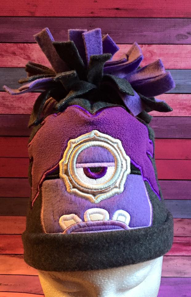 5x7 EVIL PURPLE MINION HEAD FOR HOODED TOWEL