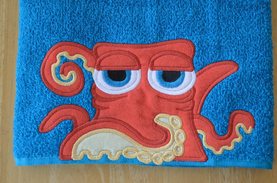 5x7 and 6x10 ORANGE OCTOPUS HEAD FOR HOODED TOWEL