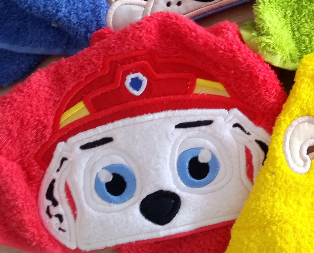 5x7 MARSHALL PAW PATROL DOG HEAD FOR HOODED TOWEL